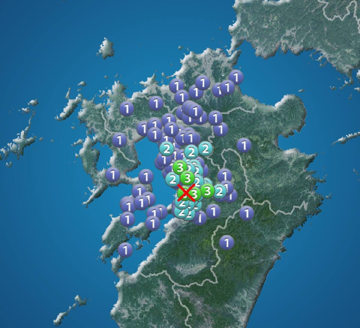 熊本地方で最大震度3の地震が発生 八女市やみやま市で震度2を観測