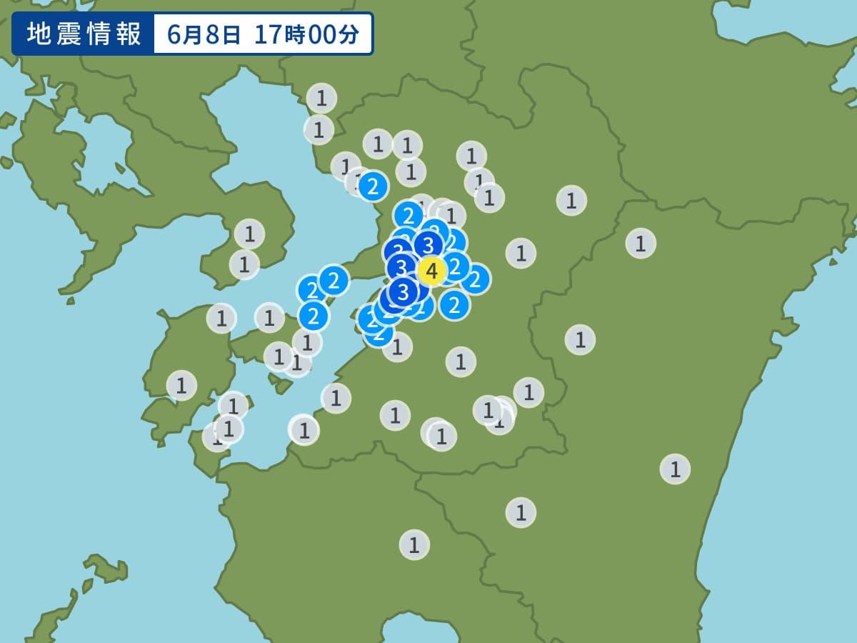 大牟田市やみやま市で揺れを観測 熊本地方を震源地に最大震度4