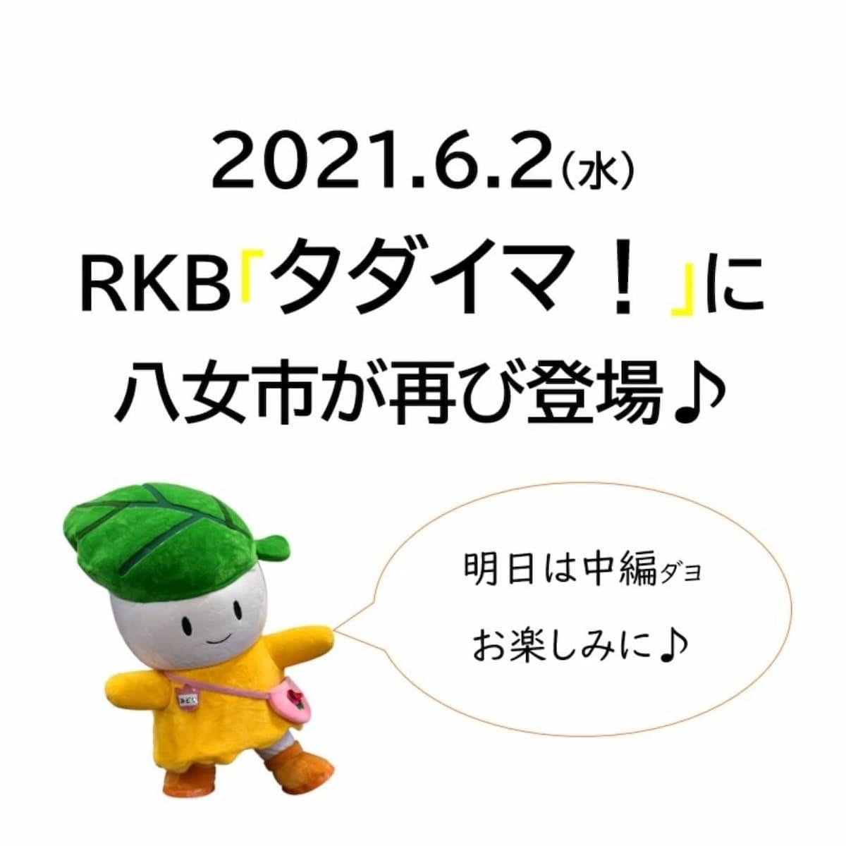 【本日放送】再び八女市が登場 RKB「タダイマ!」