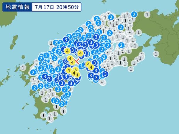 筑後や八女など筑後地区で震度2を観測 伊予灘を震源に最大震度4